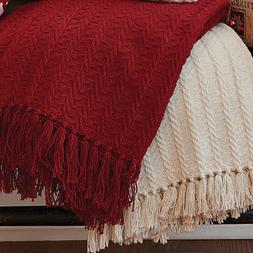 Park Designs Cable Throw Blanket, Choice of Cream or Red
