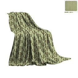 Cactus Warm Microfiber All Season Blanket Mexican Inspired I