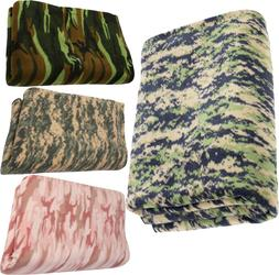 Camouflage Polar Fleece Thick Warm Military Camping Throw Bl