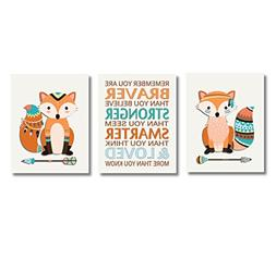 CANVAS Baby Boy Nursery Art Tribal Fox Woodland Animals Fore