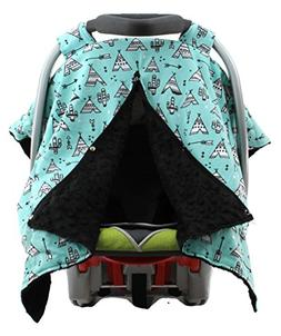 Dear Baby Gear Carseat Canopy, Teepees on Blue, Black Minky