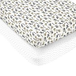 Carter's 100% Cotton Sateen 2 Piece Fitted Crib Sheets Multi