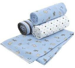 "CARTER'S 4 PACK WRAP ME UP RECEIVING BLANKETS 40""x30"" 100% C"