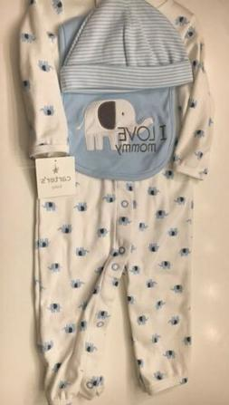 Carter's 4 Piece Elephant Pajama Set I Love Mommy Set ~ Size