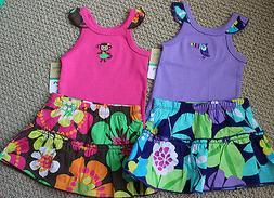 Carter's 6 M Monkey Toucan Top Skirt Skort Shorts Pink Purpl