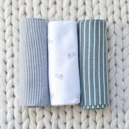 Carter's Aqua Blue Fox Baby Boy Receiving Blanket Set of 3