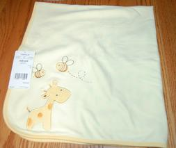 Carter's baby blanket yellow giraffe, bees, zoo animals NWT