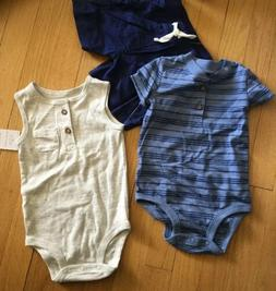 Carter's Baby Boy 3pc Summer Outfit Set 12 Mos NWT Blue Stri