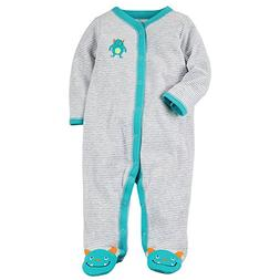 Carter's Baby Boys' Baby Boys Striped Snap up Monster Cotton