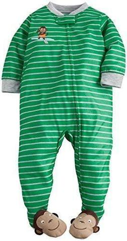 Carter's Baby Boys Toddler Striped Graphic Footie Monkey New