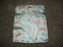 Carter's Baby Girl Cozy Animal Blanket Ivory Minky Fleece Fo