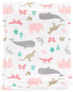 Carter's Baby Girl Plush Blanket with animals NWT 30x40