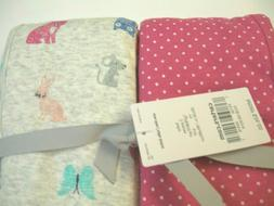 Carter's Baby Girl Swaddle Blanket Set Polka Dots and Animal