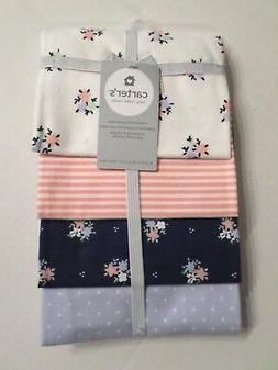 Carter's Baby Girls 4 Pack Flannel Receiving Blankets Flower