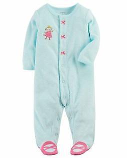 Carter's Baby Girls' Monkey Snap-Up Terry Sleep & Play, Newb