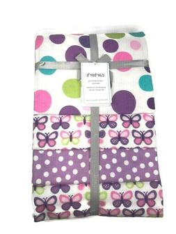 Carter's Baby Receiving Blanket 4-Pack Butterfly Purple Pink