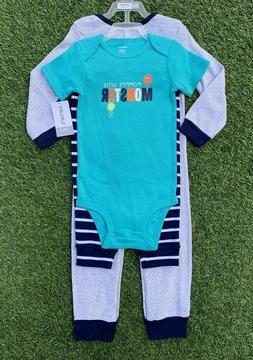 Carter's Boy 3 Pc Set Mommy's Little Monster Bodysuit Pants