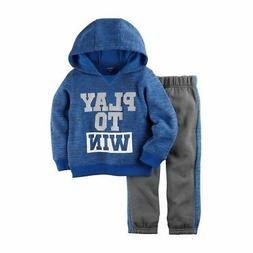 Carter's Boys Blue Terry Hoodie Play to Win & Gray Jogger Pa