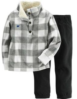 Carter's Boys Gray & White Sherpa Fleece Pullover & Black Pa