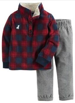Carter's Boys Red Plaid Sherpa Fleece Pullover & Gray Pants