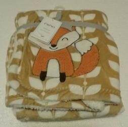 Carter's Cozy BabyBlanket Fox Orange Tan White Leaves Sher