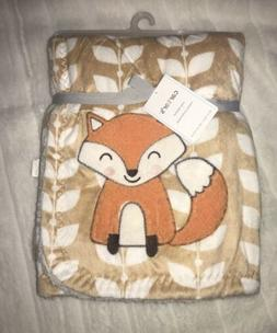 Carter's Cozy Baby Boy Girl Blanket Fox Orange Tan White Lea