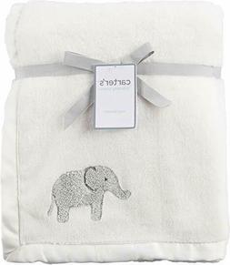 Carter's Cozy Elephant Blanket Baby Ivory Gray Fleece Satin