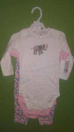 Carter's Girl pink elephant bodysuits pants 18 mos 3pc set N