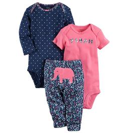 Carter's Happy Elephant Pink Blue 2 Bodysuit Pants Outfit 3P