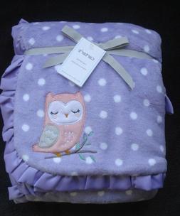 Carter's Infant Plush Purple White Dot Blanket Pink Owl NWT