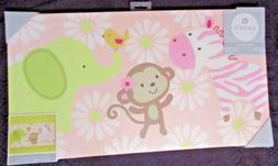 Carter's Jungle Collection Canvas Wall Art Zebra Monkey Elep