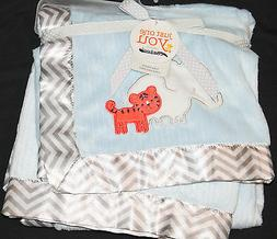 Carter's Just One You Baby Blanket blue gray elephant tiger