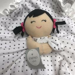 Carter's Lovey Plush Doll Security Blanket Rattle Toy Black