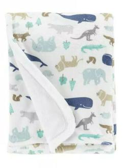 Carter's New Cozy Baby Animal Blanket Blue/White Whale Eleph