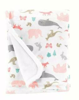 Carter's New Cozy Baby Animal Blanket Pink/White Whale Eleph