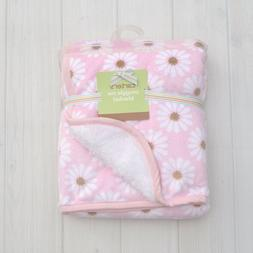 Carter's Pink Brown Daisy Flowre Plush Baby Girl's Blanket S