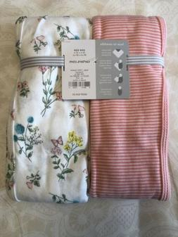Carter's Pink Striped Floral Girl's Swaddle Blankets 2 Pack