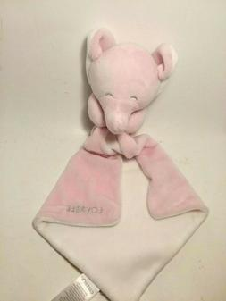 """Carter's Pink White Elephant """"LOVABLE"""" Security Lovey Blanke"""