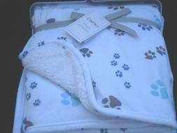 Carter's Plush Puppy Paw Print Velboa Sherpa Blanket Lovey N