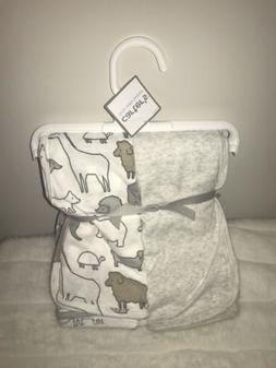 Carter's Swaddle Blankets 2pk Safari Animals Gray Tan Unisex