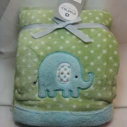 Carter's unisex Cozy Blanket aqua elephant Green White Polka