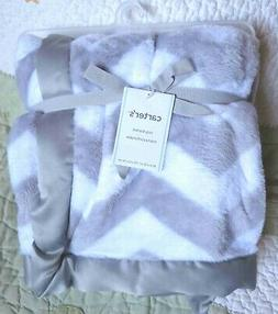 Carter's White Gray Fluffy Plush Zig Zag Chevron Baby Blanke
