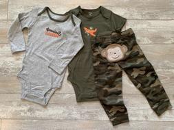 Carter's 3 Piece Baby Boy Layette Set Bodysuits Pants Monk