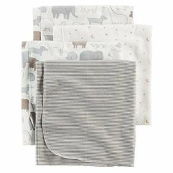 Carters 4-Pack Receiving Blanket Animals & Stars Gray Elepha