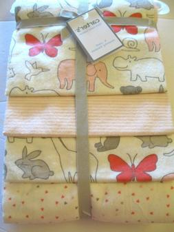Carter's Baby 4 Pack Flannel Receiving Blankets Animals, S