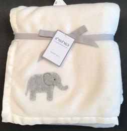 Carters Baby Basics Cozy Blanket ~ White Cream Gray Elephant