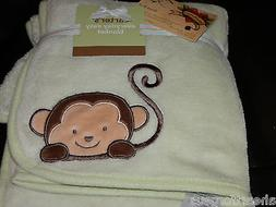 CARTERS BABY BLANKET MONKEY GREEN BROWN EVERYDAY EASY PLUSH
