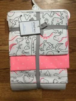 Carters Baby Girl 4 Pack Neon Pink Gray White Dinosaur Recei