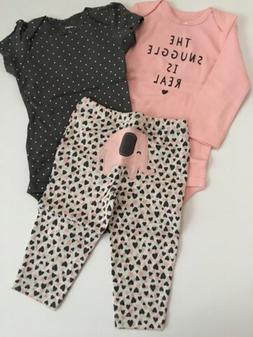 Carters Baby Girl Bodysuit Pants Set Size 9 12 18 24 Months
