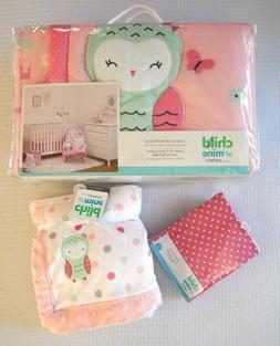 Carters Baby Girl Pink Owl Unicorn Princess Crib Bedding Set